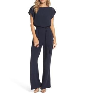 Eliza J Navy Cap Sleeve Wide Leg Jumpsuit